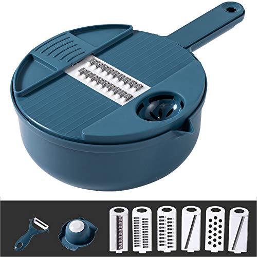 XIONGGG - Rallador para cortar verduras con 6 cuchillas intercambiables, protector y separador de clara de huevo