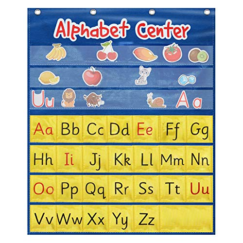 ZKOO Alphabet Center Pocket Chart, Letter Recognition and Speech,ABC,Phonics Chart for Child Listening Learning Writing Spelling and Speaking with Early Education