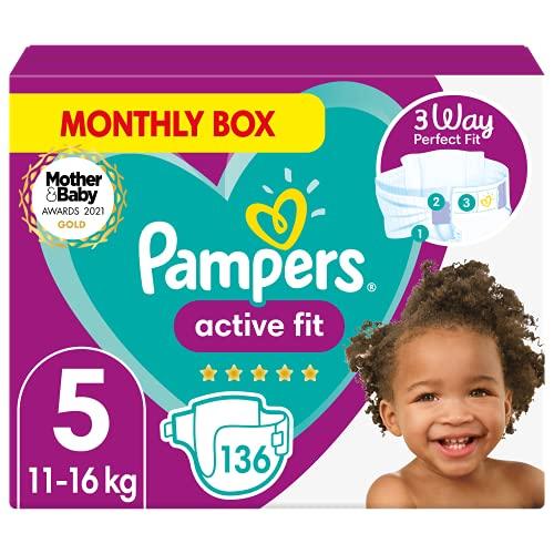 Pampers Active Fit Babywindeln, Größe 5, 136 Count, 360 Grad Comfort Fit Größe 5 (11-16 kg)