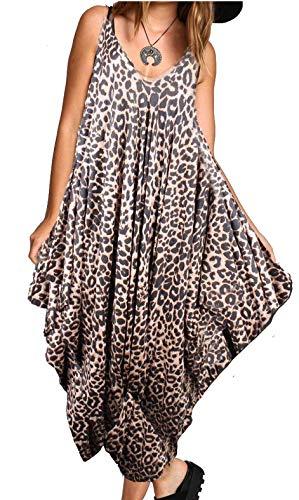 Re Tech UK - Damen Jumpsuit im Haremslook - lockere Passform - Spaghettiträger - Leoparden-Print - 36-38