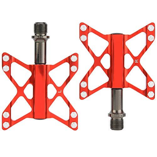 Un Par De Aleación De Aluminio Mountain Road Bike Pedales Ligeros Pedales De Bicicleta - (Rojo)