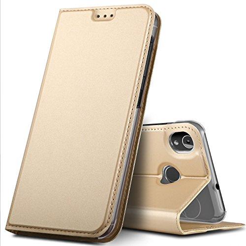 GeeMai Gigaset GS185 Hülle, Premium Gigaset GS185 Leder Hülle Flip Hülle Tasche Cover Hüllen mit Magnetverschluss [Standfunktion] Schutzhülle handyhüllen für Gigaset GS185 Smartphone, Gold