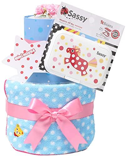 mikihouse(ミキハウス) 使用 おむつケーキ 出産祝い 名入れ刺繍 2段 オムツケーキ 今治タオル imabari towel Sassy ビタット Bitatto ピンクのリボン 女の子向け メリーズパンツタイプLサイズ