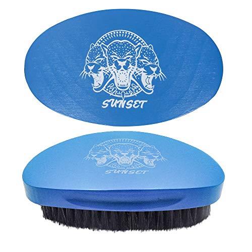 SUNSET - Cepillo Wawes (180,360,540,720) y Barba/Cepillos Waves Para Hombres De Pelo Medio (Afro, Rizado, Liso y Rizado) y para barba V3/ Cepillo de pelo de jabalí natural