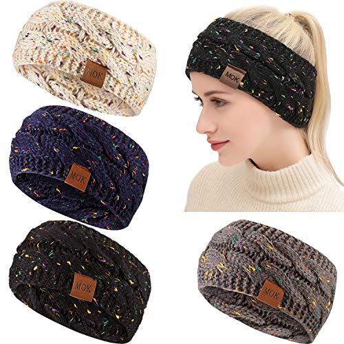 4 Frauen Konfetti Winter Kabel Stirnband Starkes Knit-Kopf-Verpackungs-Ohr-Wärmer Stirnband (Konfetti Set: Schwarz, Grau, Marine, Haferflocken)