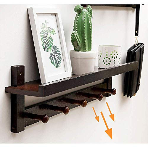 MiaoMiao Hanging Hanger Shelf with Hooks - Wall mounted clothes rack ideal for living room, bedroom, bathroom and kitchen, B, 72 * 11 * 18cm