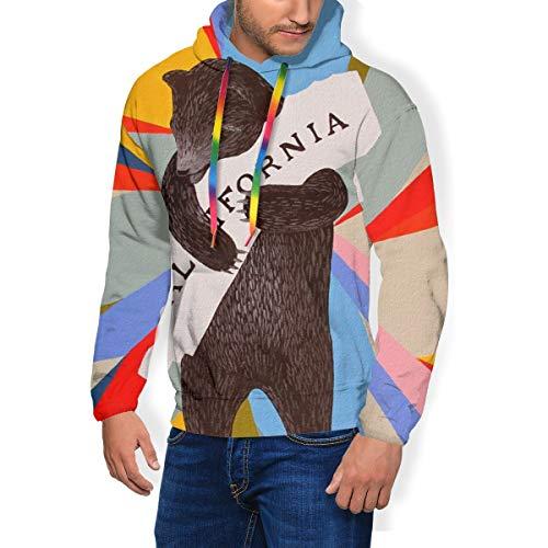 LAOLUCKY Colorful California Republic Grizzly Bear Pull à capuche à manches longues pour homme avec grande poche - Noir - Medium