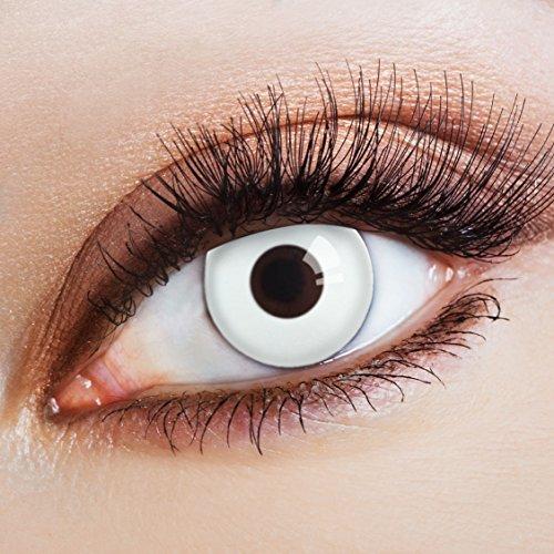 aricona Kontaktlinsen - deckend weiße Kontaktlinsen - schneeweiße Halloween Kontaktlinsen ohne Stärke