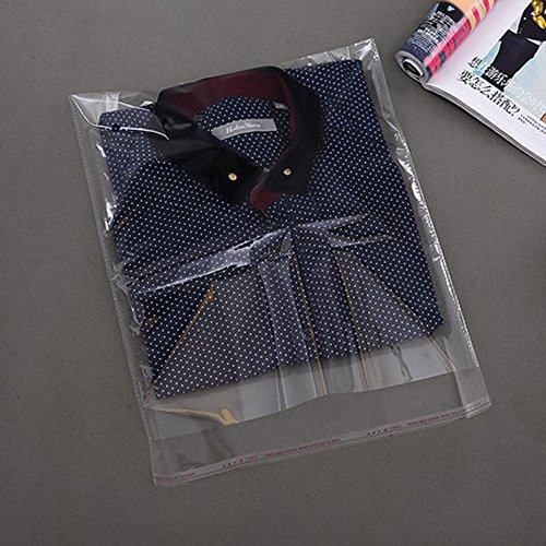 J-Beauty 9 x 13 Inch Clear Apparel Bags Self Seal Flap for T-Shirt,Clothes,Party Wedding Gift Bags (100 Pcs)