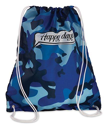 Turnbeutel Sporttasche mit Kordelzug Sport-Beutel Tasche im Trend-Design Camouflage blau