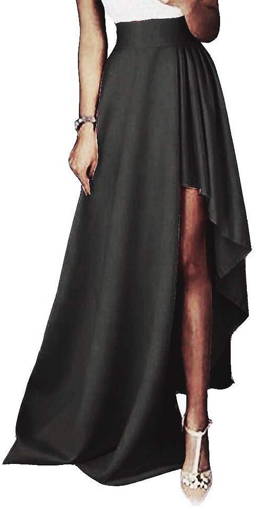 Honeydress Women's High Low Side Split Skirt A-line Satin Prom Party Skirt