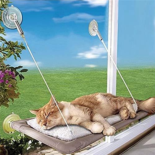 Ponacat Letto per Gatto Finestra per Gatto Sedile per Posatoio Ventose per Uso Professionale Amaca per Animali Domestici Sedile per Riposo per Animali Domestici Solarium a 360 ° per Gatti con
