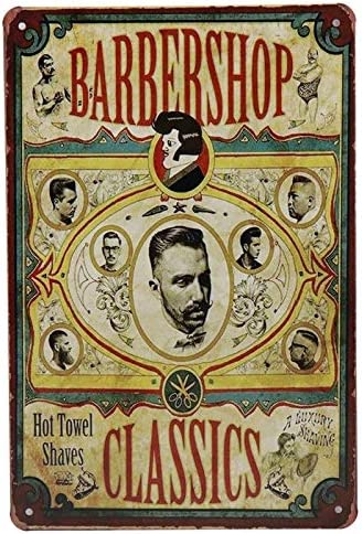 LAOBA mart Barbershop Max 66% OFF Tin Sign Vintage Metal Plaques Bar Up Pin Signs