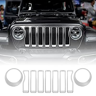 Front Grille Grill Inserts & Headlight Covers Trim for 2018 Jeep wrangler JL (Pack of 9) …