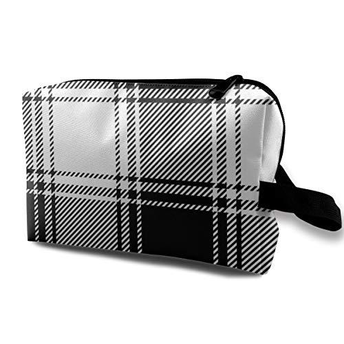Tela Escocesa a Cuadros Patten Bolsas de Maquillaje en Blanco y Negro Bolsa de Aseo de Viaje Accesorios Organizador