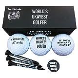Golf Funny Gift Sets- Funny Gag Novelty Present for Him for Golfers - Worlds Okayest Golfer Pack