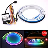 tuincyn 120cm LED strip light tail light white + red car RGB style Dynamic Serpentine tailgate light Bar for tail stop light turn signals Running driving light