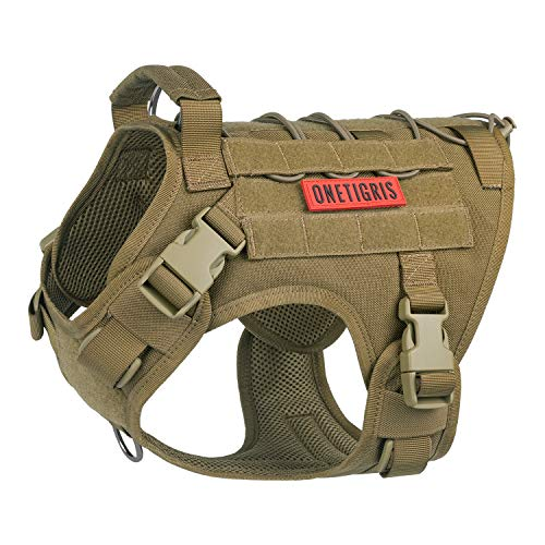 OneTigris Tactical Dog Harness - Fire Watcher Comfortable Patrol K9 Vest (Coyote Brown, Medium)