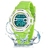 Relojes de Pulsera Electrónicos para Niños Niños Digital Relojes Deportes–5 ATM Reloj Deportivo Impermeable al Aire Libre con Alarma Cronómetro Luces de Colores de Fondo (Verde Blanco)