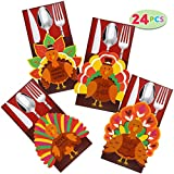 Thanksgiving Cutlery Holder Set for Thanksgiving Turkey Utensil Dcor, Autumn Fall Harvest Party Favor Supply Table Decoration, Thank You Cards.