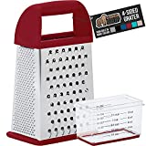 Gorilla Grip Box Grater, Stainless Steel, 4-Sided Graters with Handle for Cheese, Vegetables, Ginger, Handheld Food Shredder, Zester, Detachable Storage Container with Lid for Kitchen, 10inch, Red