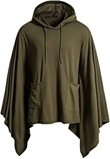 Men's Cloak, Mens Casual Daily Solid Bat Sleeves Hoodie Poncho Cape Coat with Pocket