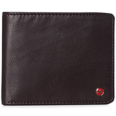 Alpine Swiss RFID Luka Men's Flip ID Wallet Deluxe Capacity ID Bifold With Divided Bill Section Camden Collection Soft Nappa Brown
