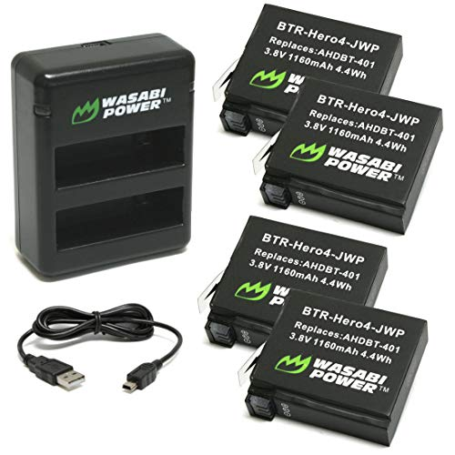 Wasabi Power Battery (4-Pack) and Dual USB Charger for GoPro HERO4