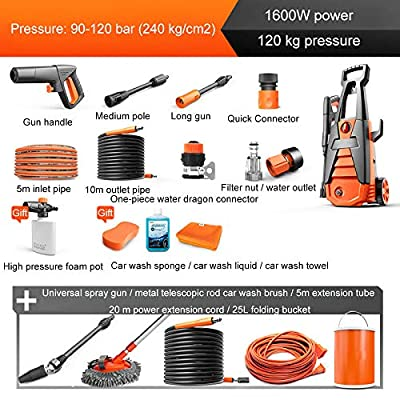 QXMEI Home Pressure Washer Waterproofing System High Pressure Washer 3-in-1 Nozzle 2 Ways To Connect Water Sources Car Washing Machine For A Variety Of Cleaning Applications,Orange1 from QXMEI