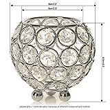VINCIGANT Silber Schüssel Kristall Kerzenhalter für Couchtisch Dekoration Tabelle Kernstück Hochzeit Feier,Durchmesser 8cm - 3