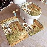 Outhouse - Alfombra de baño lavable, 3 piezas, alfombrilla en forma de U+una tapa de inodoro en forma de O para bañera, baño, ducha en casa