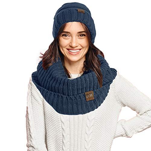 Debra Weitzner - Gorro y bufanda para mujer, diseño de calavera y bufanda, Conjunto Sombrero Azul, Talla única