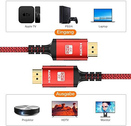 HDMI Kabel 4K 60hz | 2m – Snowkids 4K@60HZ HDMI 2.0 des Rutschfesten Kabel Aktualisierte Version mit 18Gbps HDCP 2.2, 3D UHD Ethernet ARC-kompatiblem HDTV, PS4, Projektor – Rot - 5
