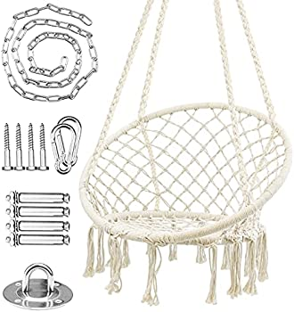 WBHome Hammock Cotton Rope Hanging Macrame Swing Chair