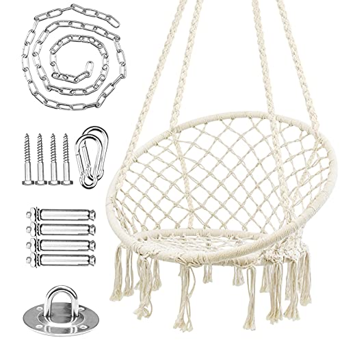 WBHome Hammock Chair Swing w/Hardware Kit, Cotton Rope Hanging Macrame Swing Chair for Bedroom, Patio, Yard, Indoor, Outdoor, Max Weight 265 Lbs (Beige)