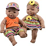 The Magic Toy Shop 12' Realistic Lifelike Vinyl Black Dark Skin Twin Dolls Ethnic African Style Baby Doll, Anatomically Correct