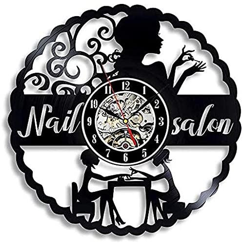 TJIAXU Disco de Vinilo Reloj de Pared decoración de diseño Moderno Cuchillo de Cocina y Tenedor de Cocina Reloj de Pared Mudo decoración del hogar