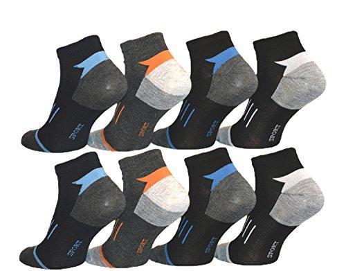 BestSale247 12 Paar Herren Sport Freizeit Sneaker Socken Füßlinge Baumwolle 39-42 ; 43-46 (Muster 2, 39-42)