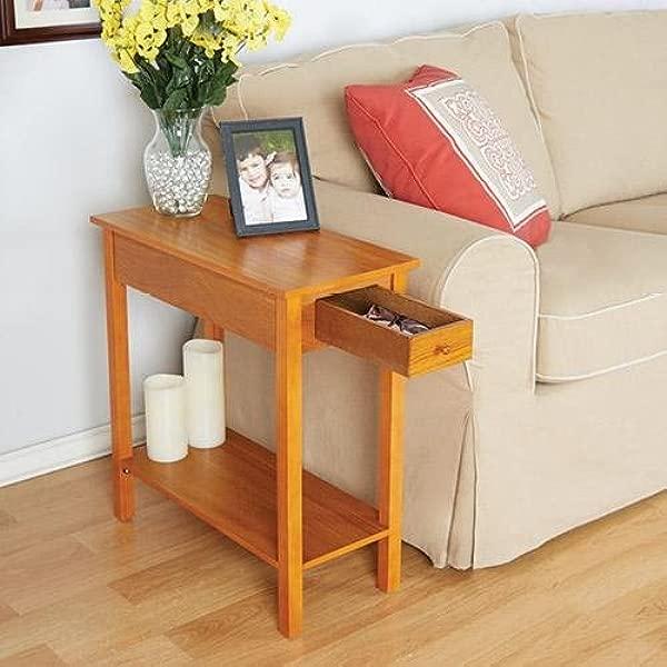 Bandwagon Chairside Sofa Side Table With Drawer