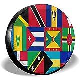 WCHAO Karibik und Westindien Nationalflagge Reserveradabdeckung Polyester Staubdicht wasserdichte Radabdeckungen für viele Fahrzeuge