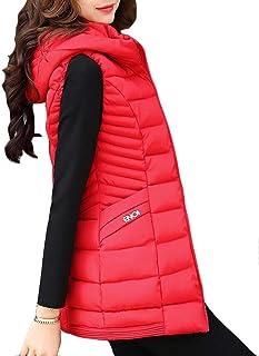 Suncaya Women Quilted Padded Long Gilet Winter Warm Hooded Waistcoat Outerwear Jacket Coat