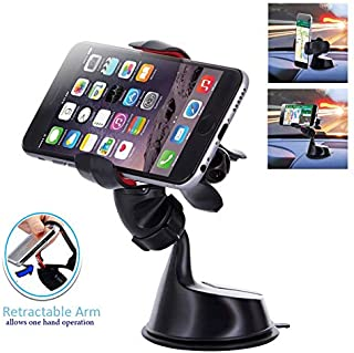 "Randconcept 2 in 1 Car Windshield Phone Mount Clamp & Dashboard Cell Phone Holder with Sticky Pad - Strong Suction Cup | Universal Fit for GPS iPhone Samsung Galaxy LG HTC Nexus & 3.8"" Wide Devices"