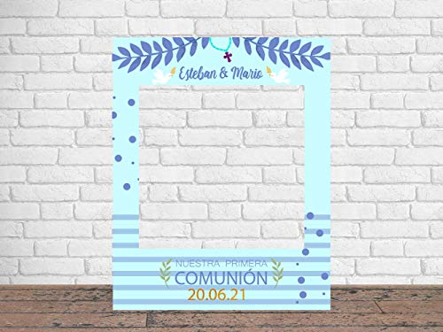Photocall Mi Primera Comunión Gemelos 80 x100 cm | Regalos para Bautizos | Photocall Económico y Original | Ideas para Regalos | Regalos Personalizados de Comunión