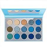 Space Blue Eyeshadow Palette DE'LANCI 15 Color Cosmetics Pressed Pigment Christmas Snowflake Eye Shadow Pallete Matte Shimmer Glitter Drama Makeup Eye Shadow Powder Long Lasting
