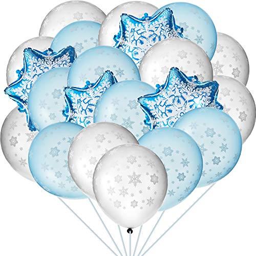Kit de Globos Temáticos Invierno, Incluye 50 Piezas Copos de Nieve, Globos de Látex y 4 Piezas de Globos de Papel de Copo de Nieve para Bienvenida a Bébe, Cumpleaños, Decoración de Fiesta de N