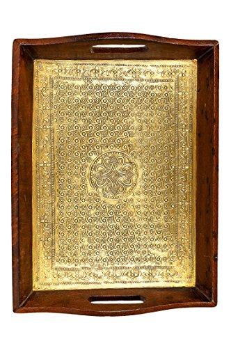 Oosterse hoekige dienblad van hout messing verguld maghul 40 cm | Marokkaans theetblad in de kleur goud | Orient houten dienblad goudkleurig | Oosterse decoratie op de gedekte tafel