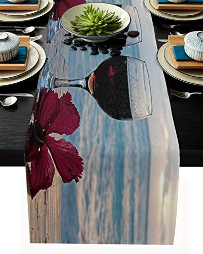 Camino de mesa de arpillera de lino, bufandas de 35 x 182 cm, vino con flores y amanecer en la playa, caminos de mesa para fiestas de vacaciones, comedor, cocina, decoración de boda