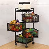 WRMOL Kitchen Storage Rack-Rotating Vegetable Rack Floor-Standing Multi-Layer Kitchen Storage Rack, Household Storage Shelf for Kitchen Living Fruit Vegetable Snack Stand(Size:4F)