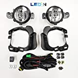 LEDIN Fog Lights for 2014-2016 Nissan Versa Note Hatchback (OE Style Clear Lens with Switch, Wires, Bulbs, Brackets)