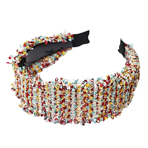 XdiseD9Xsmao Zachte stof, brede gebreide band, elastische haarband, hoofdbedekking, accessoires voor gezichtsreiniging Rose Pink Rainbow